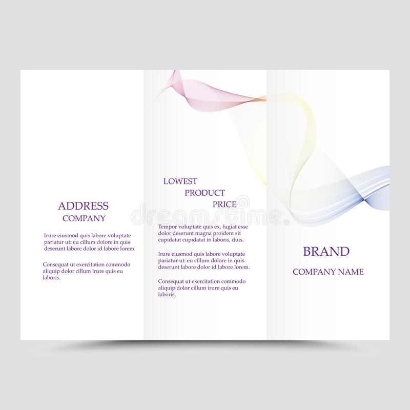Three fold business brochure template, corporate flyer or cover design in blue colors royalty free illustration
