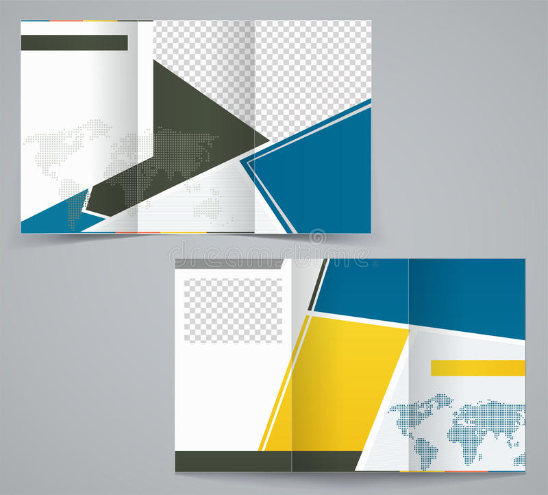 Three fold business brochure template, corporate flyer or cover design vector illustration