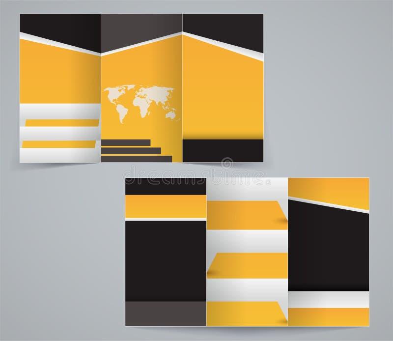 Three fold business brochure template stock illustration
