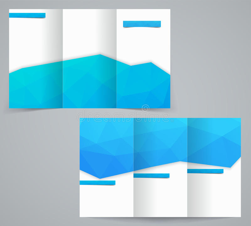 Three fold business brochure template with triangles, corporate flyer or cover design royalty free illustration