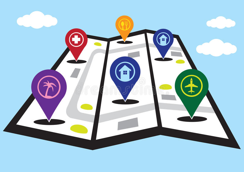 Three-Fold Street Map with Markers Vector Illustration royalty free illustration