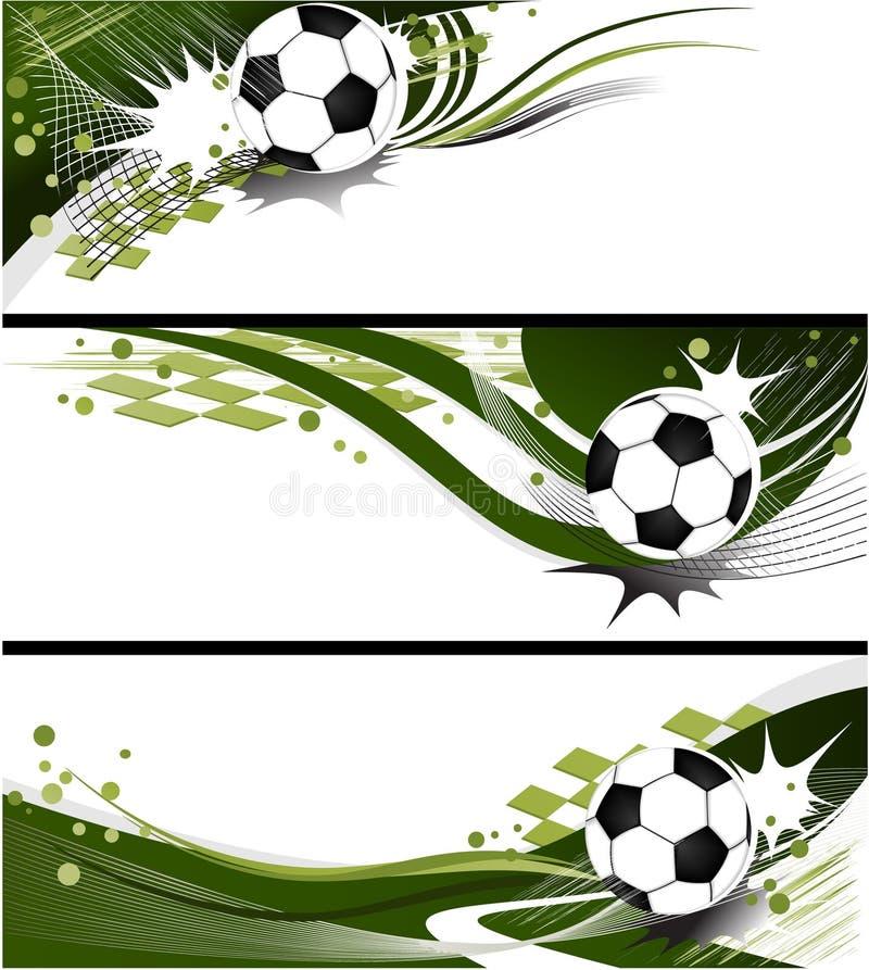 Three football banners vector illustration