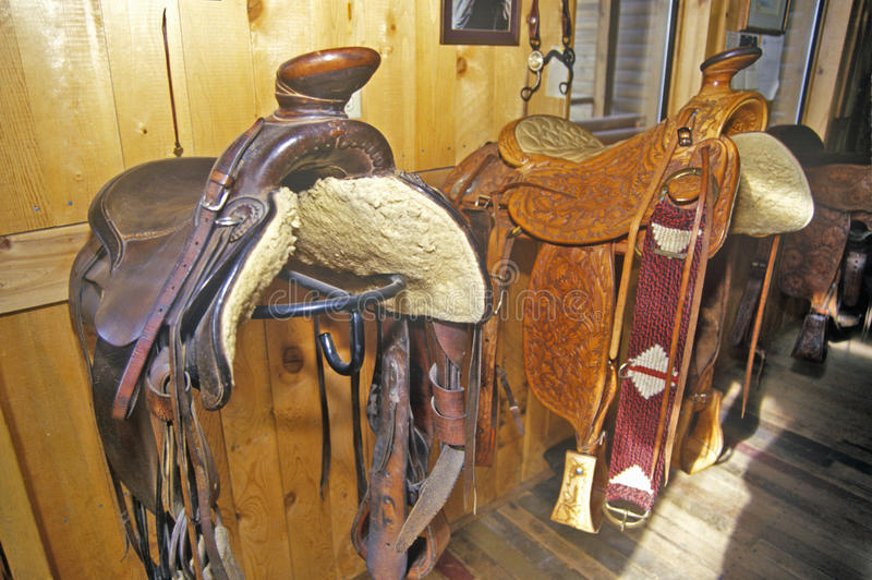 Three Forks Custom Saddlery, MT stock photo