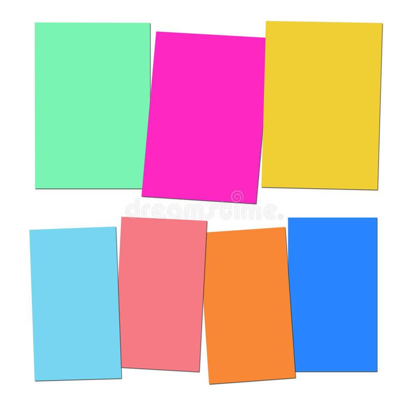 Three And Four Blank Paper Slips Show Copyspace For 3 Or 4 Letter Words. Three And Four Blank Paper Slips Showing Copyspace For 3 Or 4 Letter Words stock illustration