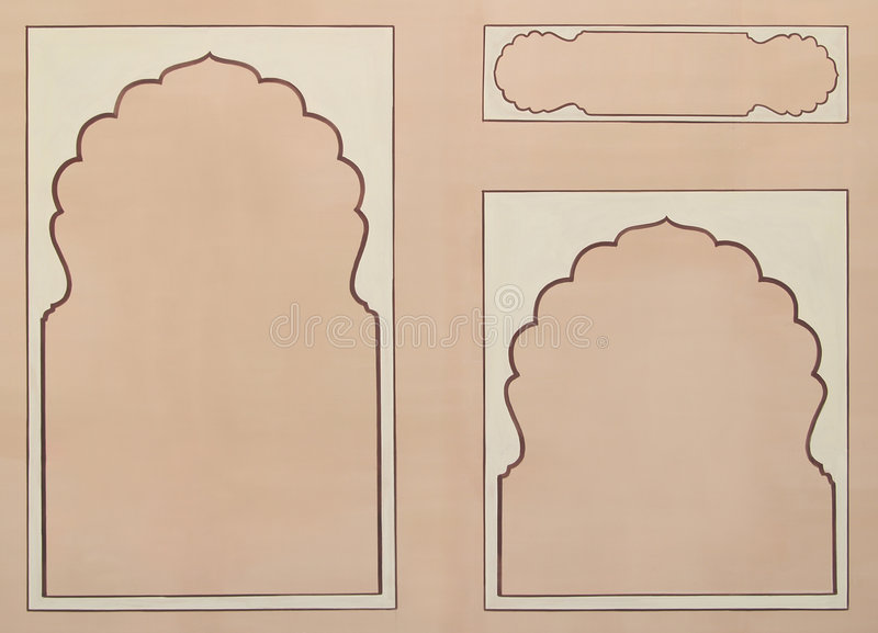 Three frames illustration. Three beige frames on a brown background royalty free illustration