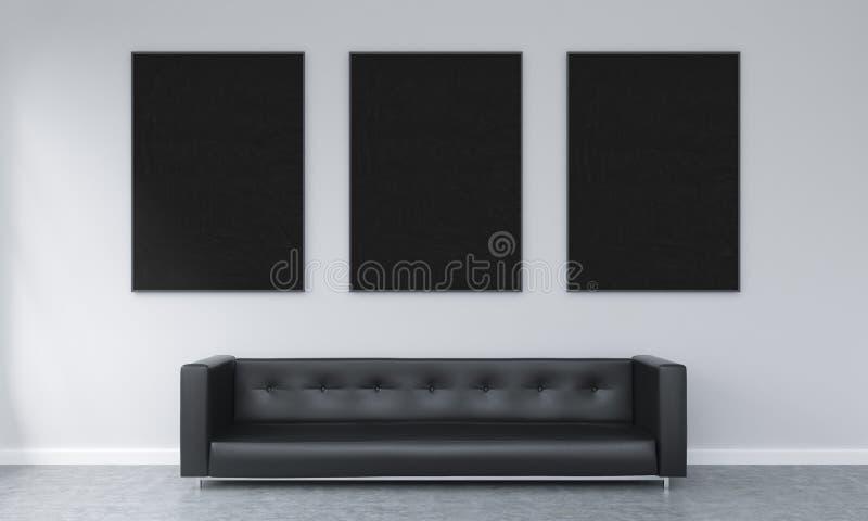 Three frames over a sofa stock illustration. Illustration of ...