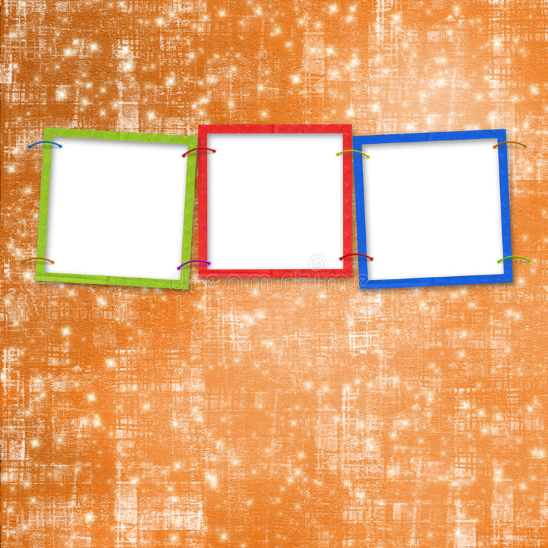 Three frames for photos. On the bright background stock illustration