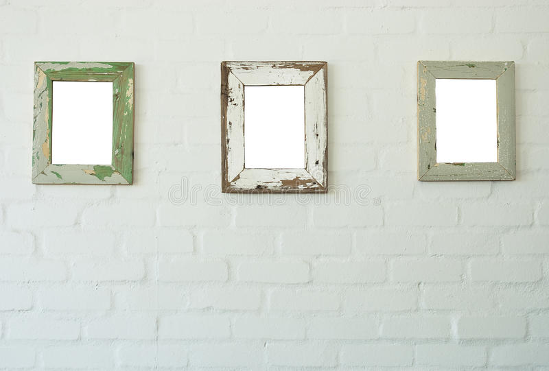 Three frames on wall stock photo. Image of exhibition - 45727306