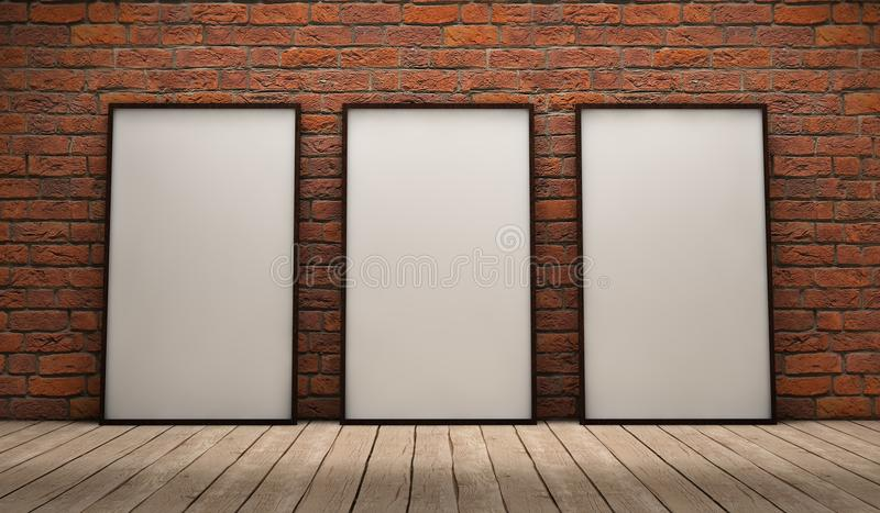 Three frames. White empty frames in a room vector illustration