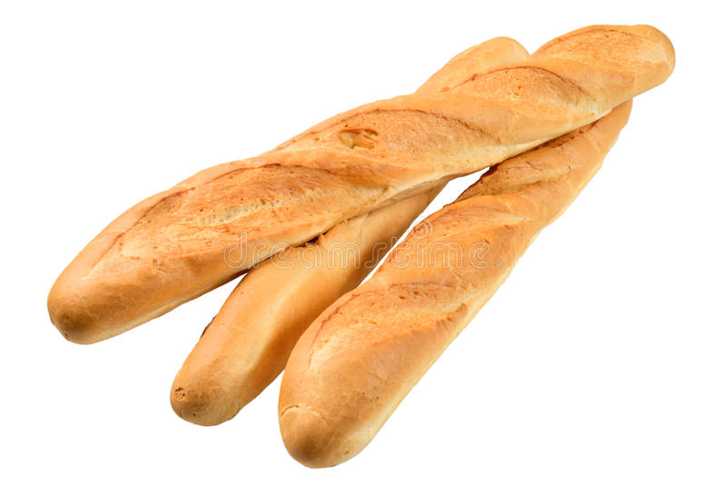 Three French baguette. Isolated on the white background stock photography