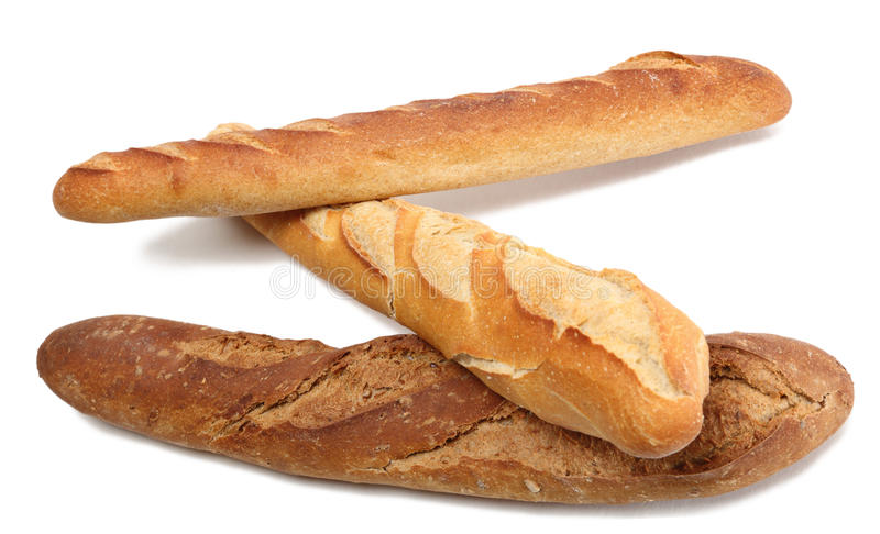 Download Three French baguettes stock photo. Image of crust, objects - 18312322