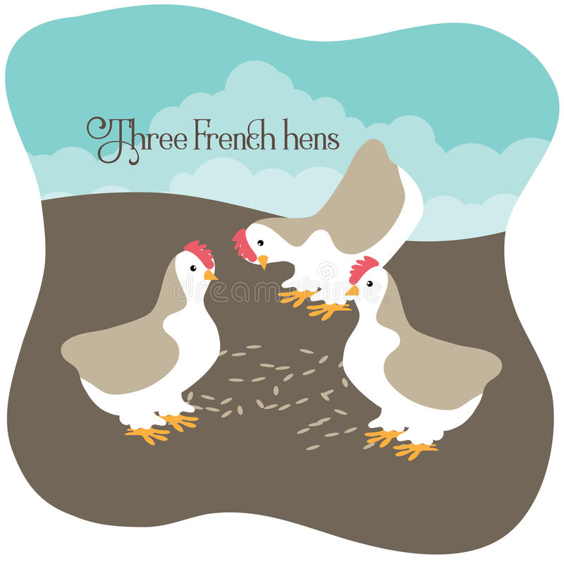 Three French hens eating seed stock illustration