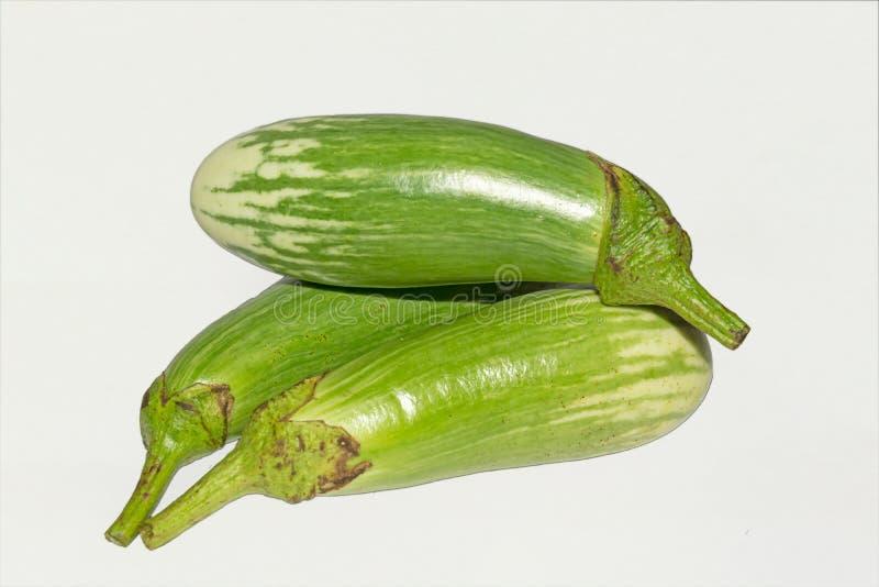 Fresh long green brinjal,thai green eggplant or aubergine on white background. Three fresh,raw and organic long green brinjal,thai green eggplant or aubergine royalty free stock image