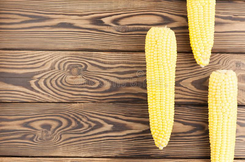 Three fresh yellow ripe corn. On old rural wooden planks royalty free stock photography