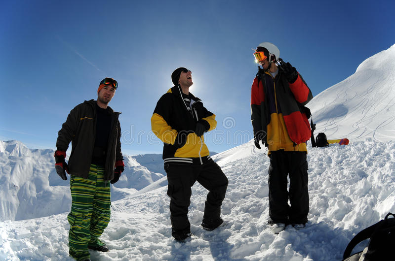 Download Three friends stock photo. Image of skiers, friends, nature - 19131166