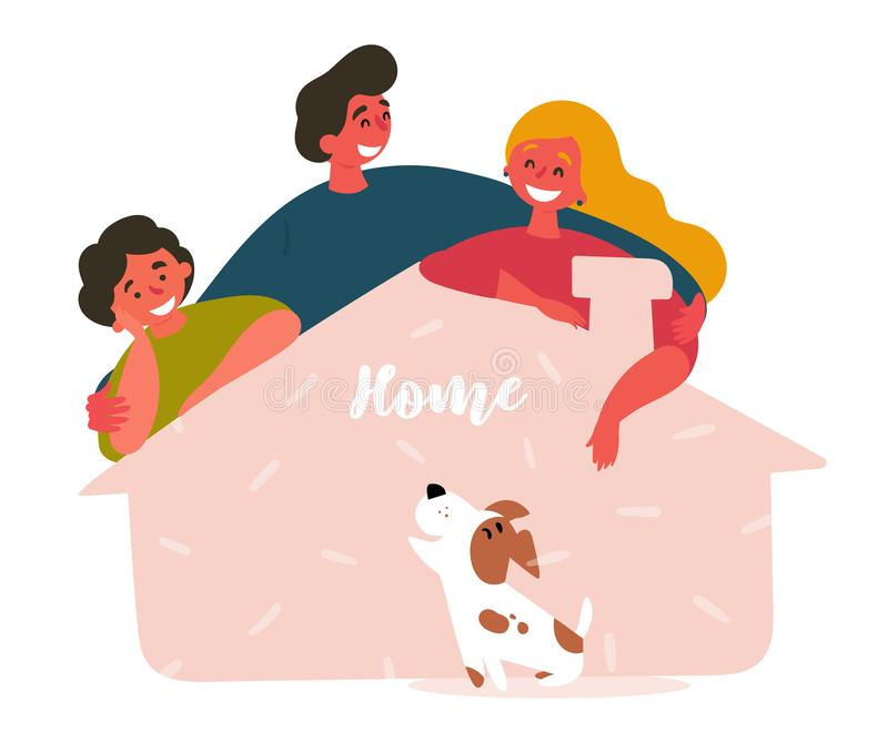 Three friends and adopted pet from shelter house stock illustration