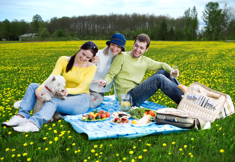 Three friends with little white dog at picnic stock image