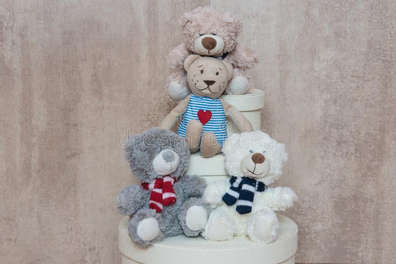 Three friends Teddy from the box royalty free stock image