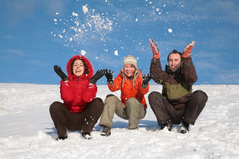 Download Three friends throw snows stock photo. Image of happy - 4386684