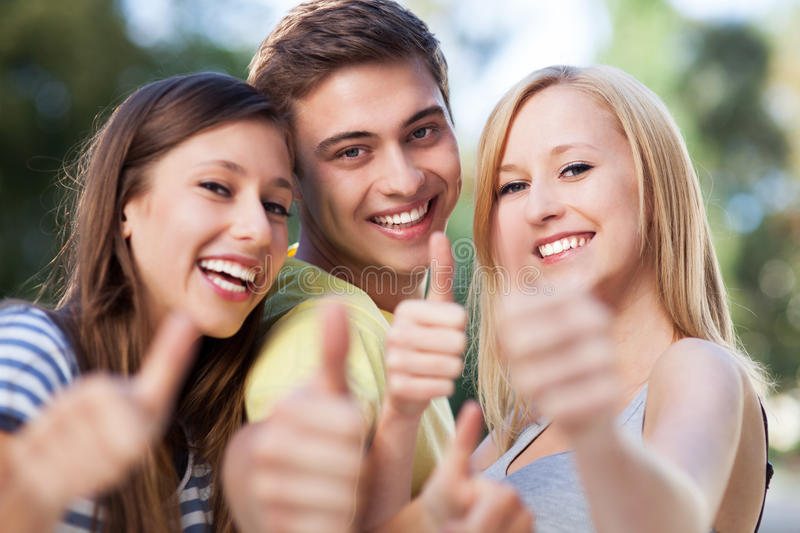 Download Three Friends With Thumbs Up Stock Photo - Image: 26830602
