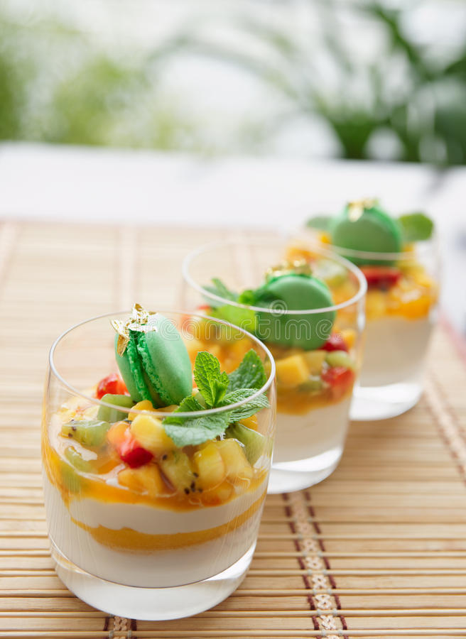 Three fruit cocktails stock photos