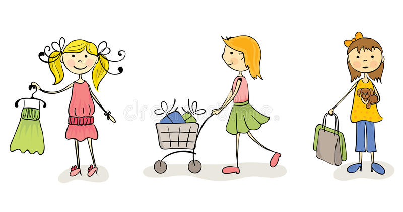 Three fun girls go shopping stock illustration
