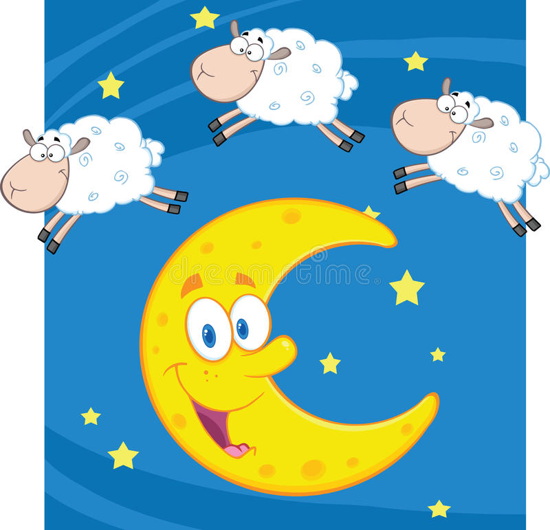 Three Funny Counting Sheep Over A Moon. Cartoon Character royalty free illustration