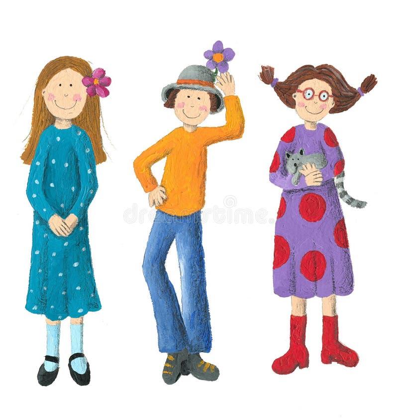 Three Funny Kids vector illustration