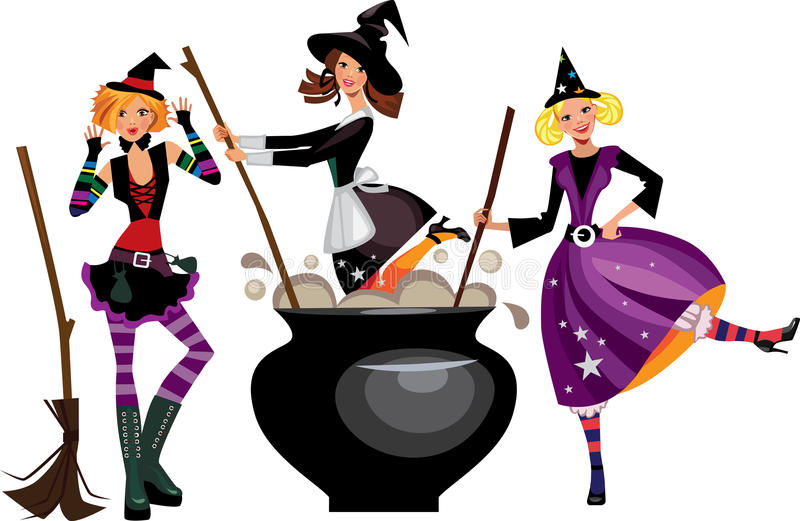 Three funny witches preparing a potion stock illustration