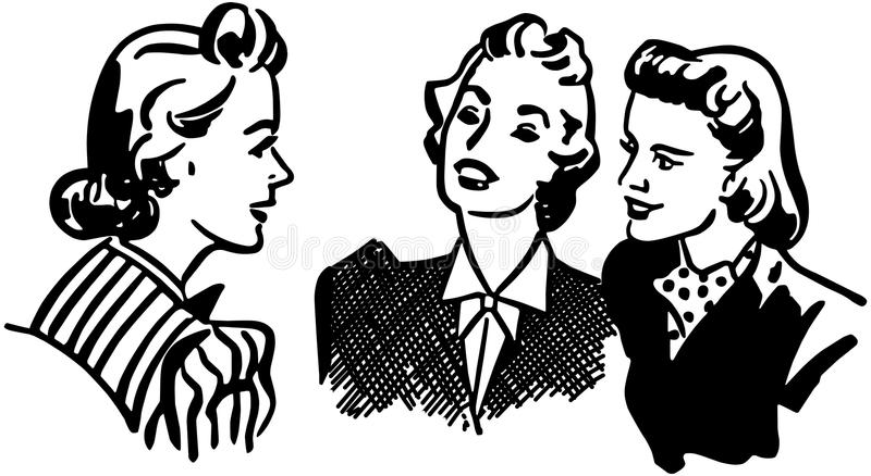 Three Gals Chatting royalty free illustration