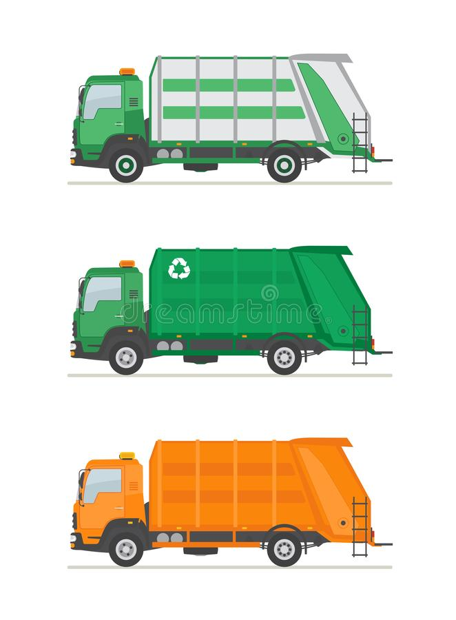 Three garbage trucks isolated on white background. Garbage  utilization equipment. Ecology and recycle concept. Flat style vector illustration stock illustration