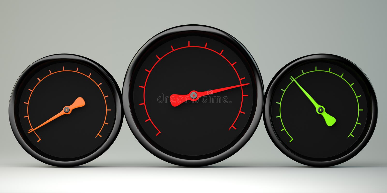 Three gauges stock illustration