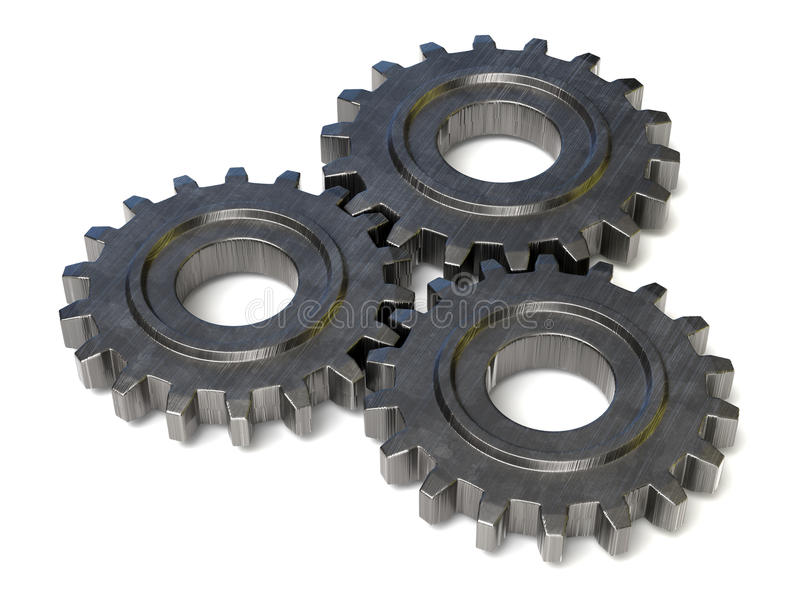 Three gear wheels stock illustration