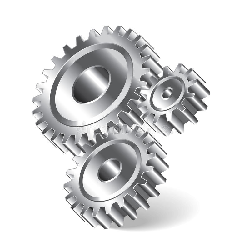 Three gear wheels illustration royalty free illustration