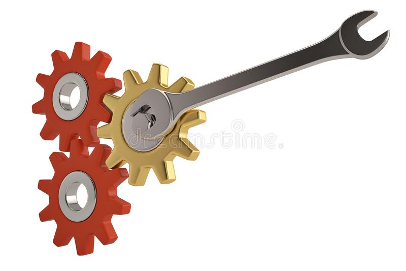 Three gears and chrome wrench on a white background. 3D illustration. royalty free illustration