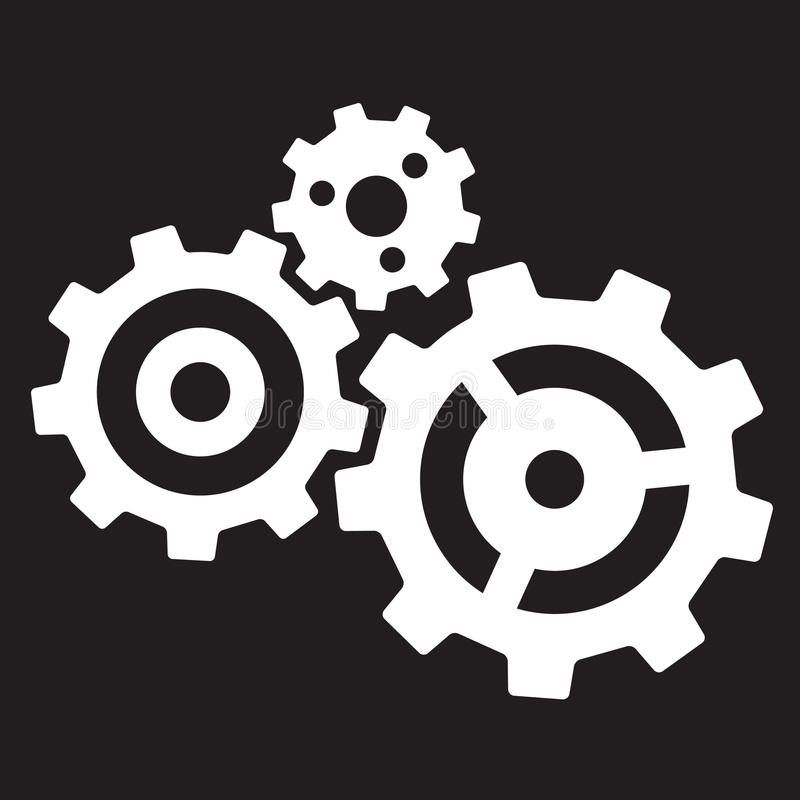 Three gears. Isolated on black background royalty free illustration