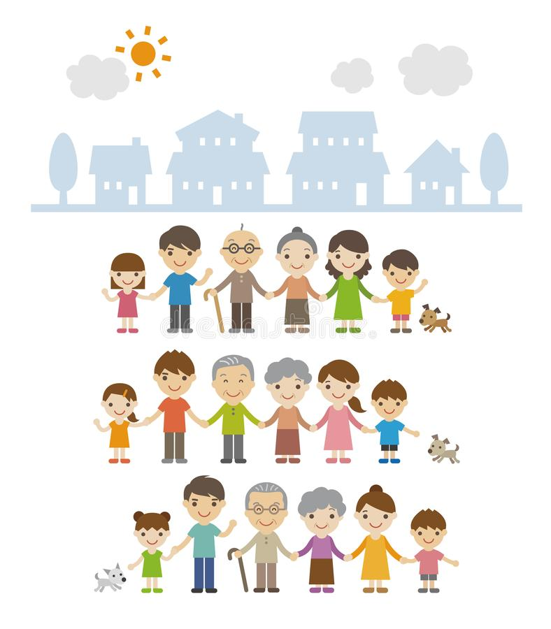 Three generation families standing together in front of houses royalty free illustration