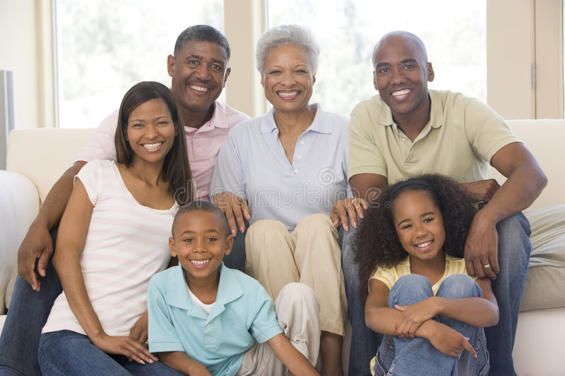 Three Generation Family Group At Home. African American Three Generation Family Group At Home royalty free stock image