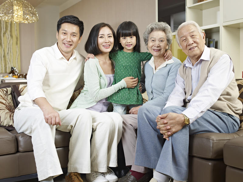 Three-generation family royalty free stock photo