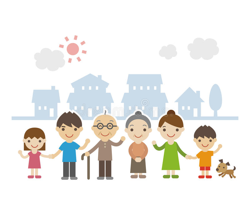 Three Generation Family Standing Together smiling vector illustration