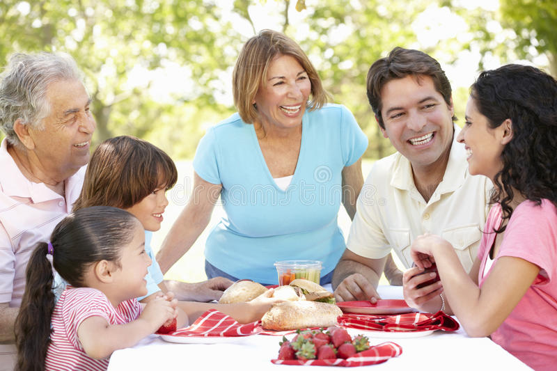 Three Generation Hispanic Couple Enjoying Picnic In Park royalty free stock photos
