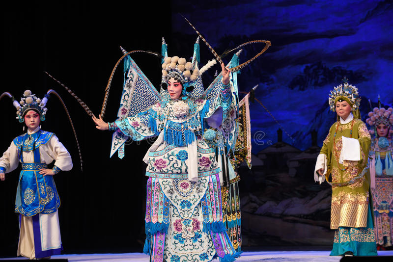 """The three generation of people- Beijing Opera"""" Women Generals of Yang Family"""". This opera tells a patriotic story how does an old woman of a hundred stock image"""