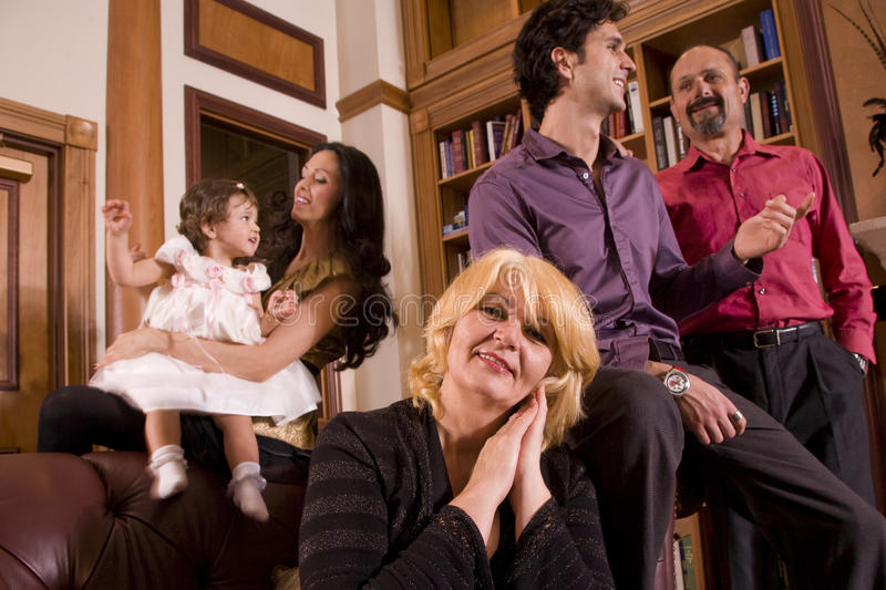 Three generations. Three generation family at home together stock images