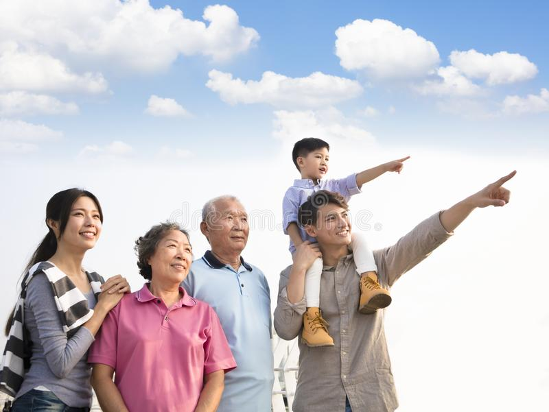 Generations family having fun together outdoors. Three generations family having fun together outdoors royalty free stock photo