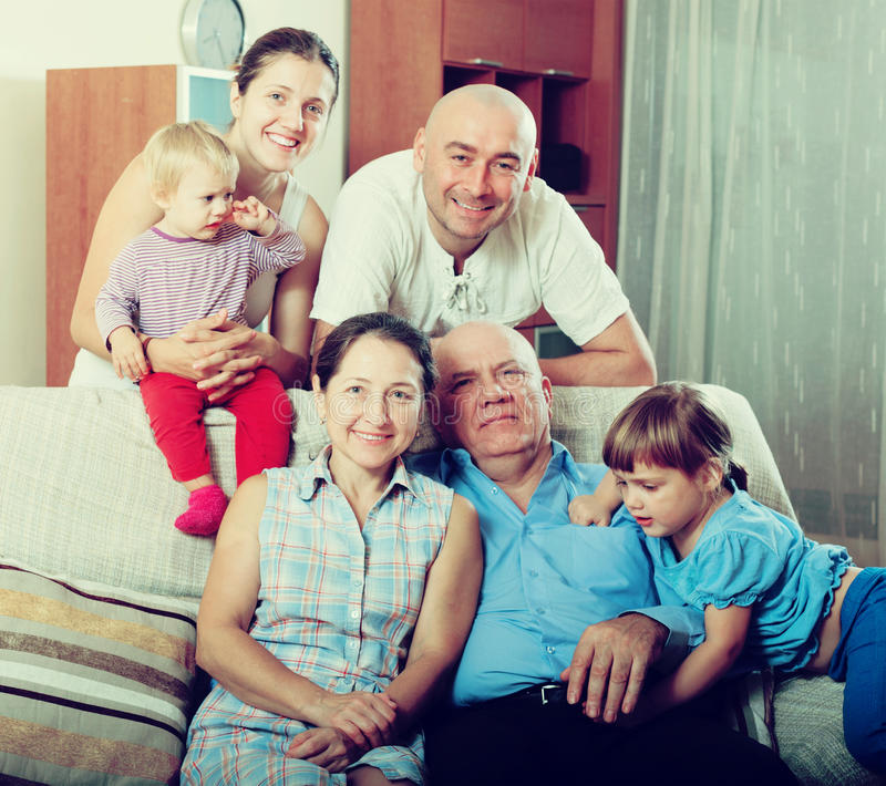 Three generations family in home. Ordinary three generations family in home stock photos