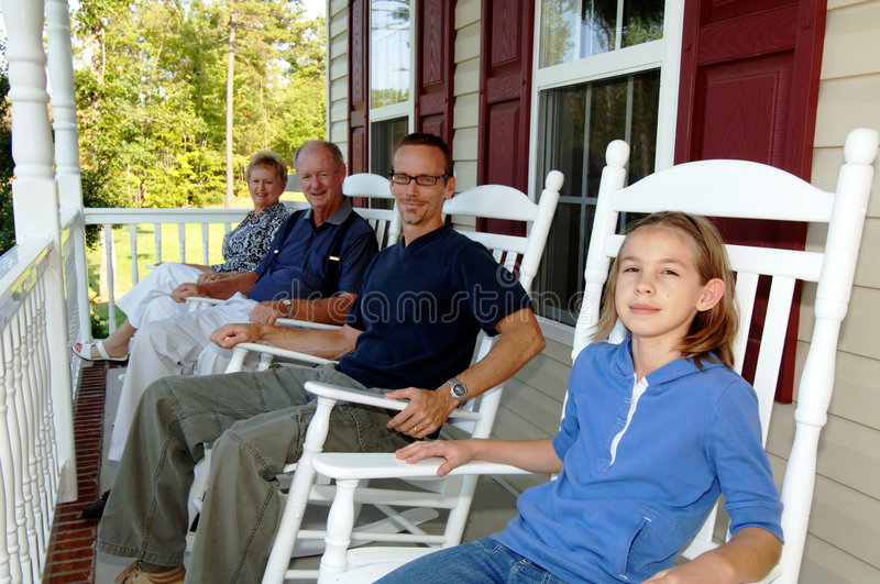 Three generations on front porch