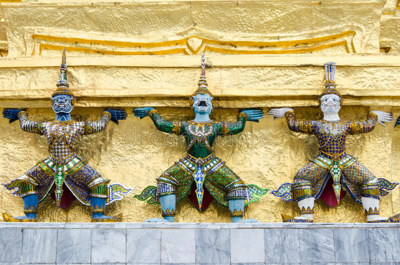 Three giants. Temple Guardian. Three Statues of Giant Guardians royalty free stock images