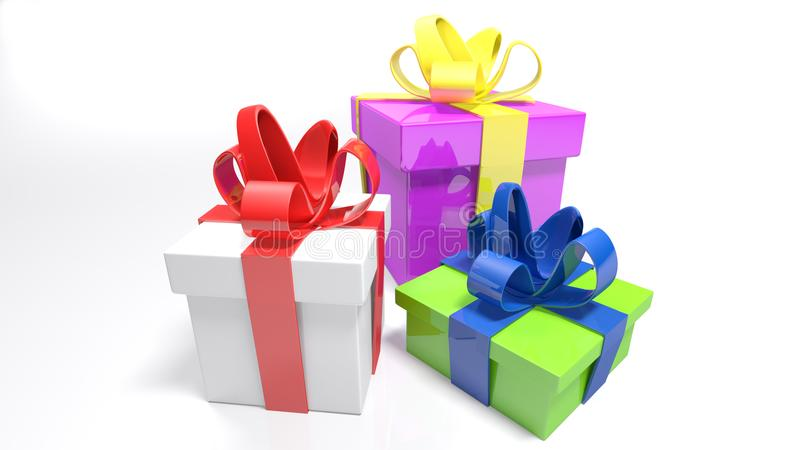 Three gift boxes on white surface - 3D rendering vector illustration