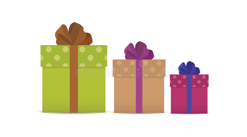 Three gifts or gift boxes of different sizes stock photos