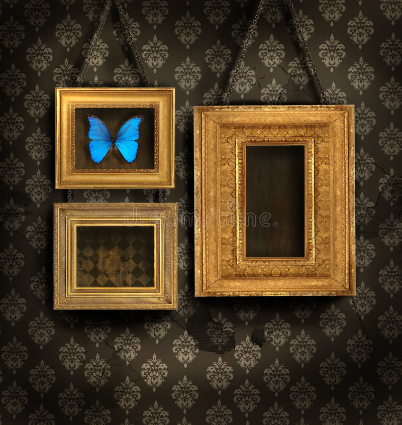 Download Three Gilded Frames On Antique Wallpaper Stock Photo - Image of brown, image: 6803788